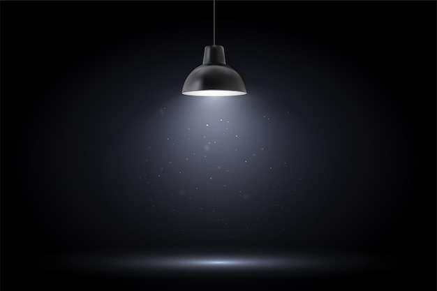 Lamp in donkere kamer. spotlight op zwarte achtergrond.