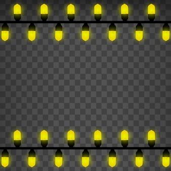 Lamp licht. geïsoleerde feestelijke slinger. draad lamp vector.