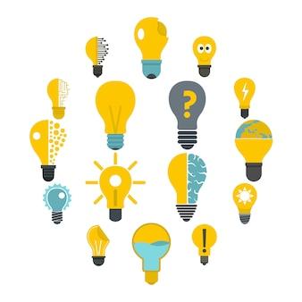 Lamp logo pictogrammen instellen in vlakke stijl
