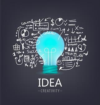 Lamp met hand getrokken brainstorm illustratie