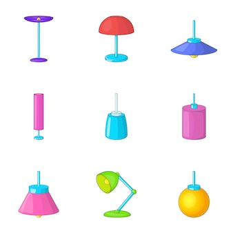 Lamp meubels iconen set, cartoon stijl