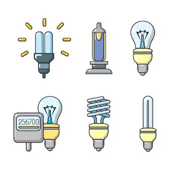 Lamp pictogrammenset. beeldverhaalreeks bol vectorpictogrammen geplaatst geïsoleerd