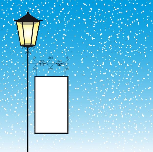 Lamp straat met ruimte om te kopiëren over winterlandschap vector