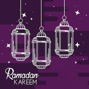 Lampen die decoratie hangen aan ramadan kareem