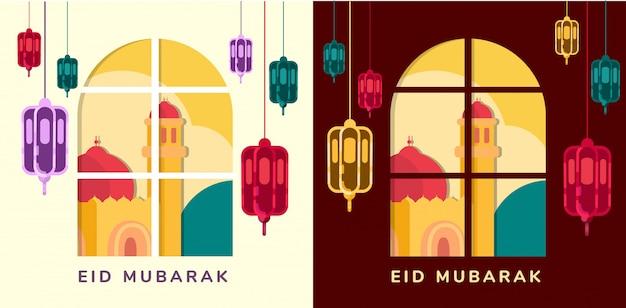 Lampen en moskee op raam eid mubarak blijven thuis idul fitri begroetende lichte en donkere modus platte suqare