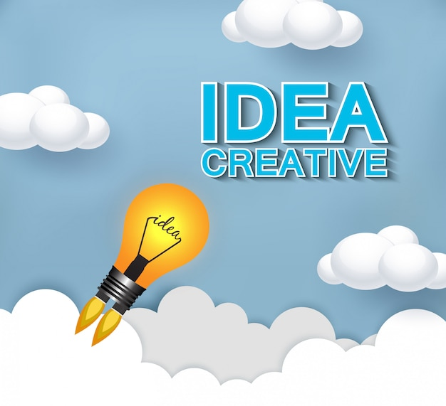 Lampen lanceren naar de hemel. bedrijfs concept. creatieve ideeën voor succes en bedrijfsdoelen