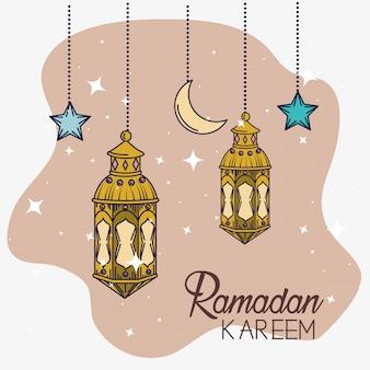 Lampen met maan en sterren die aan festivaldecoratie hangen