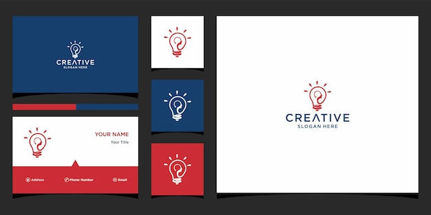 Lampgezicht logo-ontwerp met sjabloon voor visitekaartjes