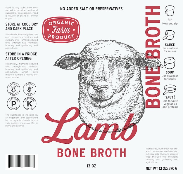 Lamsbot bouillon labelsjabloon abstract vector voedsel verpakking ontwerp lay-out moderne typografie