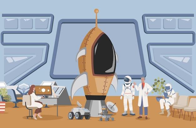 Lanceer raketcentrum met kosmonaut flat illustration engineer