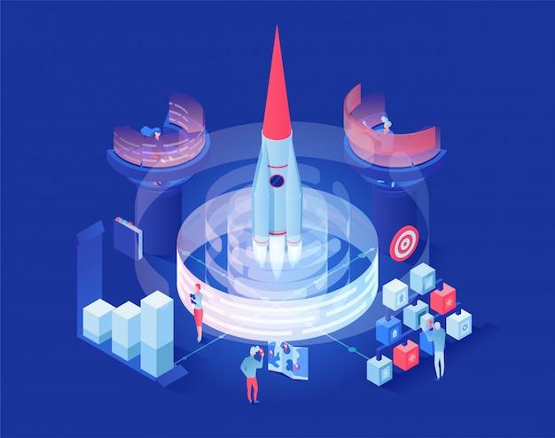 Lancering shuttle in ruimte isometrische illustratie