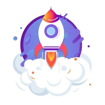 Lancering van het raketschip. concept van zakelijk project. vectorillustratie opstarten