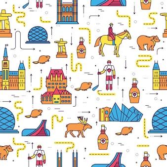 Land canada reizen vakantie plaatsen en functies. infographic sjabloon sticker naadloze patroon.