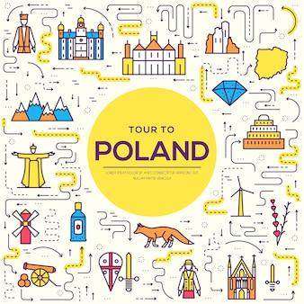Land dunne lijn polen reis vakantiegids van goederen, plaatsen en functies.