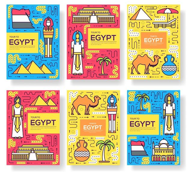 Land egypte reizen vakantie gids vector brochure dunne lijn kaartenset