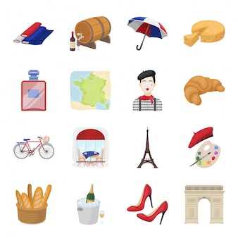 Land frankrijk cartoon ingesteld pictogram. illustratie reizen in parijs. geïsoleerde cartoon set icon land frankrijk.