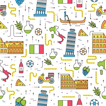 Land italië reis vakantiegids. set van architectuur, mode, mensen, items, natuuroverzicht.