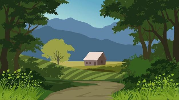 Land landbouwgrond landschap met traject