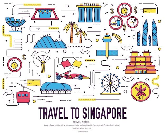 Land singapore reis vakantiegids van goederen, plaats. set van architectuur, mode, mensen,