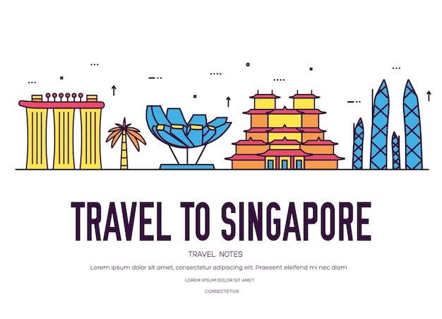 Land singapore reis vakantiegids van goederen. set van architectuur, mode, mensen, item, natuur