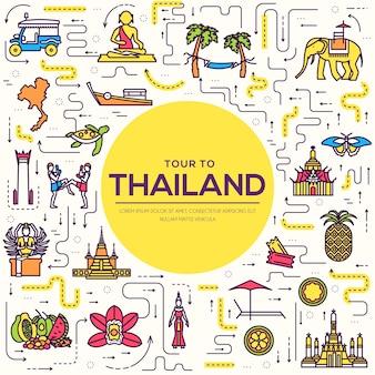 Land thailand reis vakantiegids van goederen, plaats en functie. set van architectuur, mode