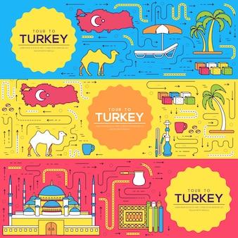 Land turkije kaarten dunne lijn set illustratie