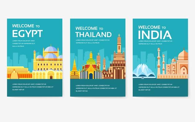 Land van egypte, oostenrijk, duitsland, india, rusland, thailand, japan, italië kaartenset.