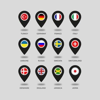 Land vlaggen locatie pictogrammen