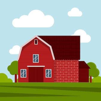 Landboerderij op een groene weide, agrarische constructie. platte vectorillustratie op een achtergrond van blauwe lucht met wolken