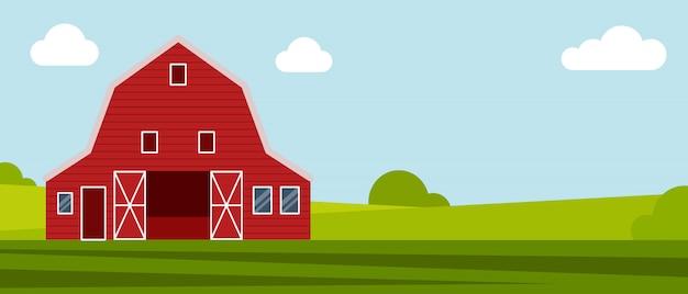 Landboerderij op een groene weide
