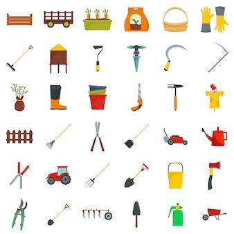 Landbouw apparatuur tuin pictogrammen instellen