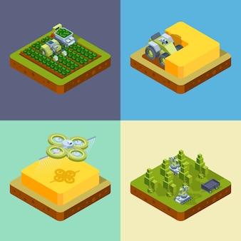 Landbouw concept. slimme landbouwprocessen oogsten zaaien besproeiingsnetwerk digitaal rijden harvester tractoren isometrisch. illustratie boerderij landbouw, maaidorser