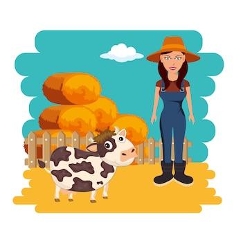 Landbouw en landbouw hooibalen concept