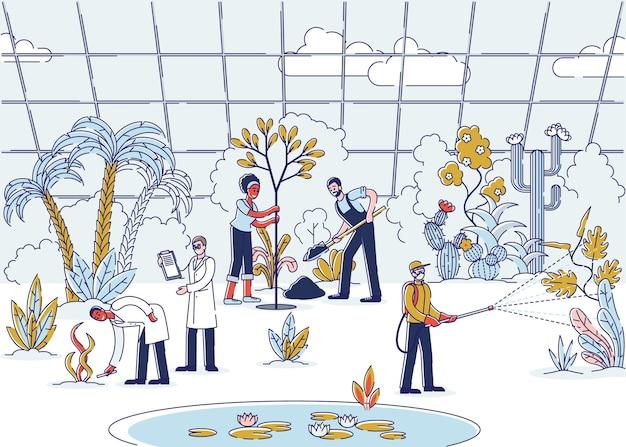 Landbouw en landbouw mensen die planten en planten verzorgen