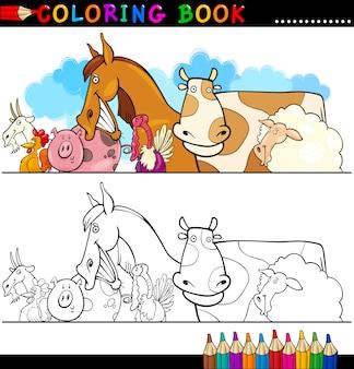 Landbouw en veetieren voor het kleuren