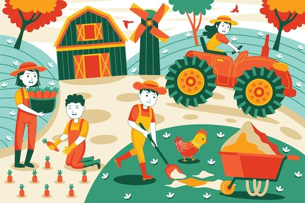 Landbouw in vlakke stijl