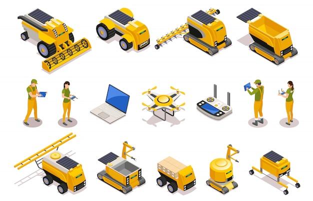 Landbouw isometrische pictogrammenreeks van op afstand bestuurde robots die voor het ploegen van geïsoleerd teelt oogsten worden gebruikt