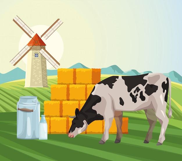 Landbouw koe eet gras hooibalen en windmolen veld