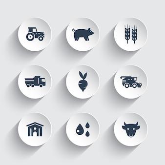 Landbouw, landbouw iconen set, vee, varkens, hangar, maaidorser, agrimotor, groenten