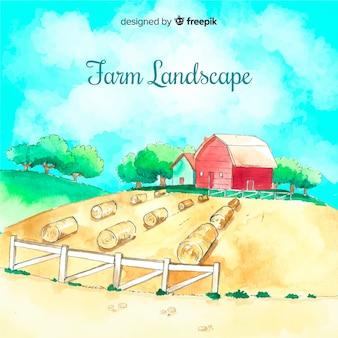 Landbouw landschap in aquarel stijl