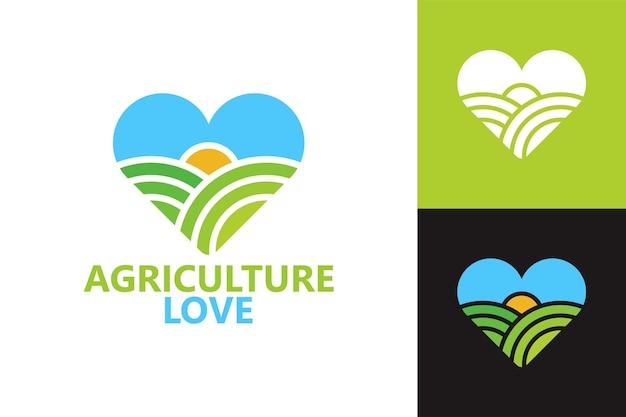 Landbouw liefde logo sjabloon premium vector