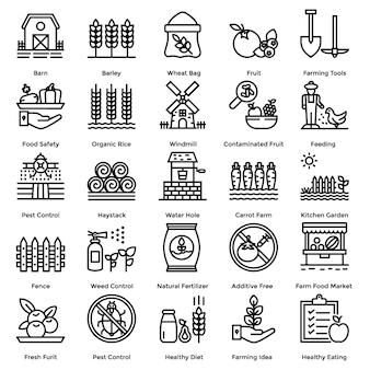 Landbouw lijn icons set