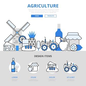 Landbouw natuurlijke boerderij puur product voedsel groeiende windmolen concept platte lijnstijl.