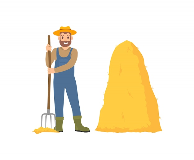 Landbouw persoon met hooivork vectorillustratie