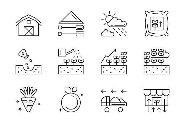 Landbouw pictogrammen