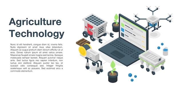 Landbouw technologie concept banner, isometrische stijl