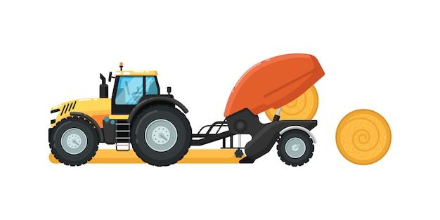 Landbouw tractor hooi balenpers illustratie