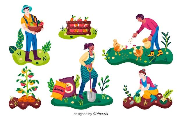 Landbouwarbeiders die activiteiten in de tuin maken