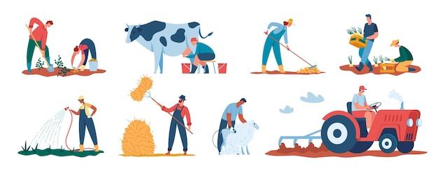 Landbouwarbeiders die planten oogsten, boeren die in het veld werken, gewassen water geven en schapen scheren vectorbeelden Premium Vector