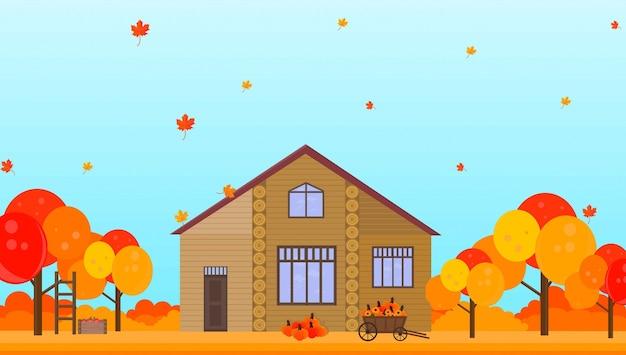 Landbouwbedrijf in de achtergrond van het de herfstseizoen vectorillustraties